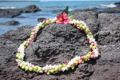 "Pikake/Rosebud Twirl Pink & Yellow 18"" - Hawaiian Silk Leis"