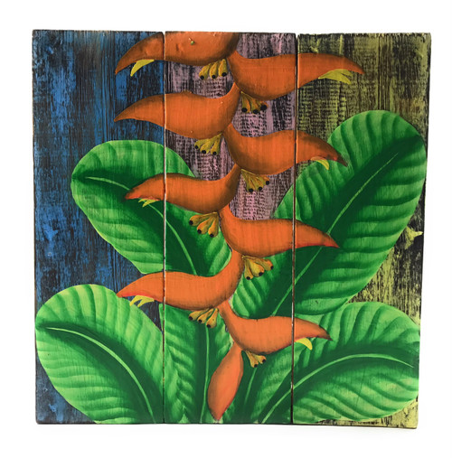 "Heliconia Flower Painting on Wood Planks 12"" X 12"" Rustic Wall Decor 