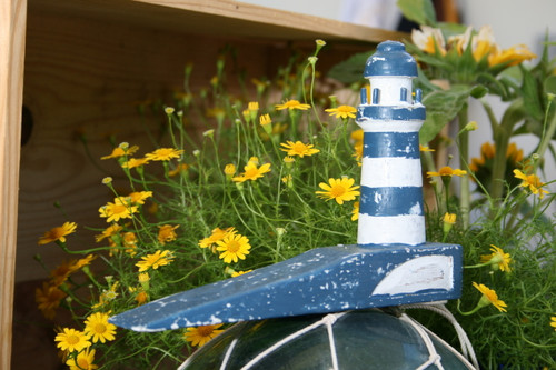 """LIGHTHOUSE"" DOOR STOPPER 4"" BLUE - NAUTICAL DECOR"
