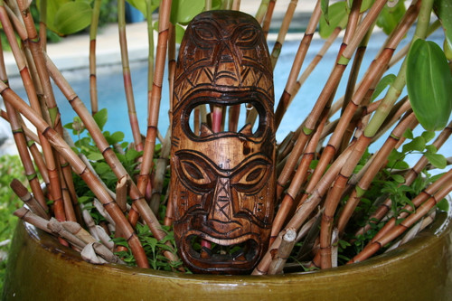 "FIJIAN TIKI MASK - 12"" STRENGTH & ABUNDANCE - HAND CARVED"