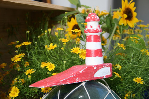 """LIGHTHOUSE"" DOOR STOPPER 4"" RED - NAUTICAL DECOR"