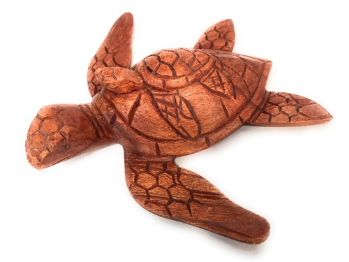 "Carved Sea Turtle w/ baby honu 8"" Stained - Hand Carved 