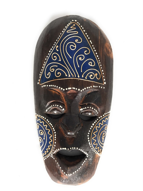 "Tribal Tiki Mask 8"" Blue - Tattoo Primitive Art 