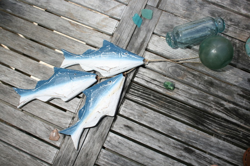 "HANGING ""FISH"" SET OF 3 - BLUE COASTAL - NAUTICAL DECOR"