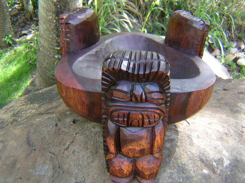 "Scorpion Tiki Bowl 12"" Stained - Wooden Hand Carved 