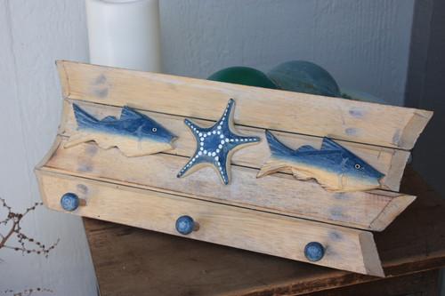 """Hanger w/ Fish & Starfish 20"""" - White Wash"""