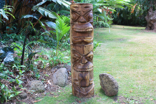 "Premium Prosperity & Health Tiki 40"" - Acacia Wood - Home Decor"