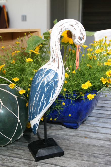"""EGRET BIRD"" - RUSTIC BLUE COASTAL 14"" - GARDEN/HOME DECOR 3"