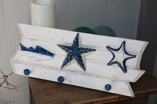 "Hanger w/ Fish & Starfish 20"" - Coastal Decor"