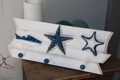 "Hanger w/ Fish & Starfish 20"" - Coastal Decor"