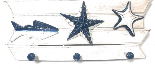 "Hanger w/ Fish & Starfish 20"" - 3 Pegs Coastal Decor 