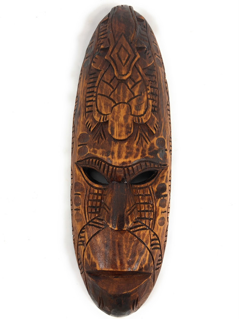 "Fijian Tiki Mask 20"" w/ Turtle & Gecko - Tropical Decor 