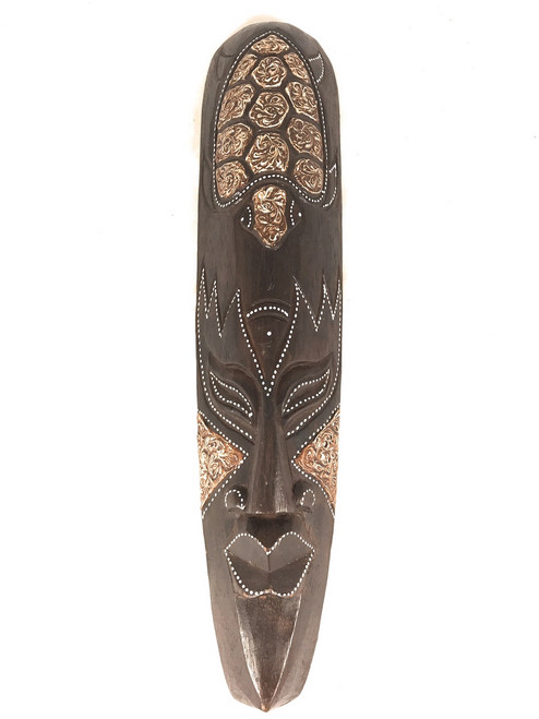 "Tribal Chief Tiki Mask 20"" w/ Turtle - Primitive Art 