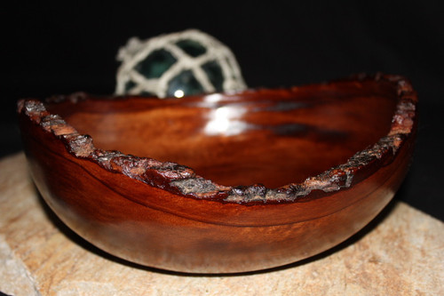 "Rustic Carved Wood Bowl - Tamarin 10"" Stained 