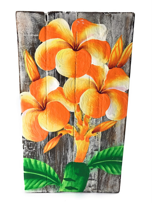 "Plumeria Flower Painting on Wood Planks 8"" X 4.5"" Rustic Wall Decor 
