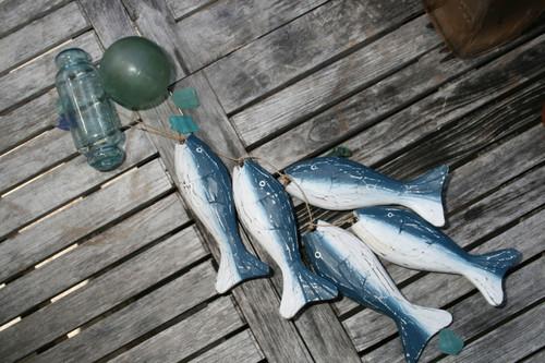 """HANGING """"FISH"""" SET OF 5 - BLUE COASTAL - COASTAL DECOR"""