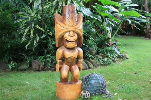 "Ku Kona-Style Tiki 48"" - Natural - Traditional Hawaii Museum Replica"