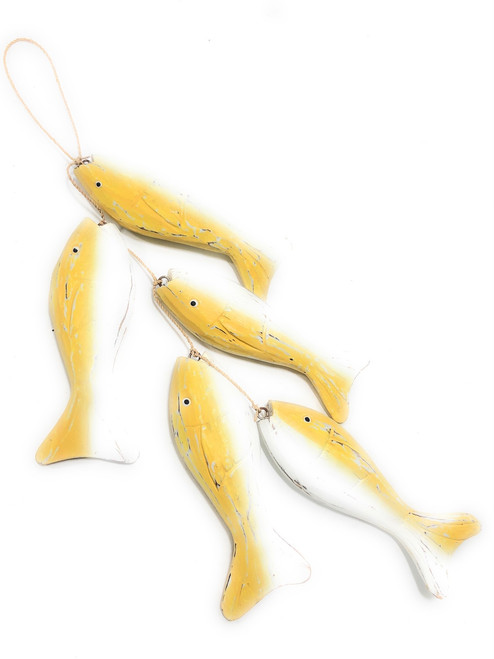 "Garland W/ Cluster Of 5 Fish 20"" - Yellow Coastal Accents 