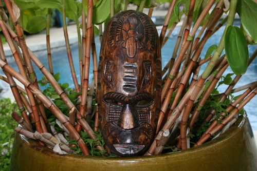 "FIJIAN TIKI MASK W/ TURTLE & NIFO OTI - 12"" - HAWAIIAN DECOR"