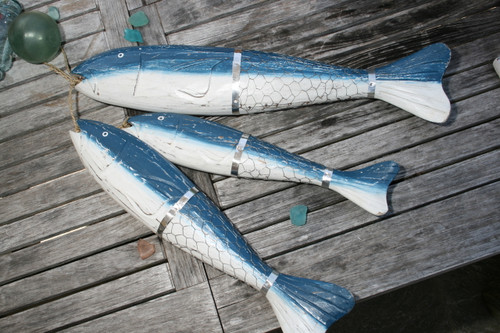 "HANGING LARGE ""FISH W/ NET"" SET OF 3 - BLUE COASTAL - NAUTICAL DECOR"
