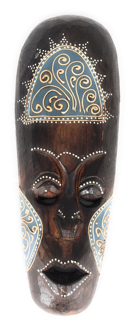 "Tribal Tiki Mask 12"" Blue - Tattoo Primitive Art 