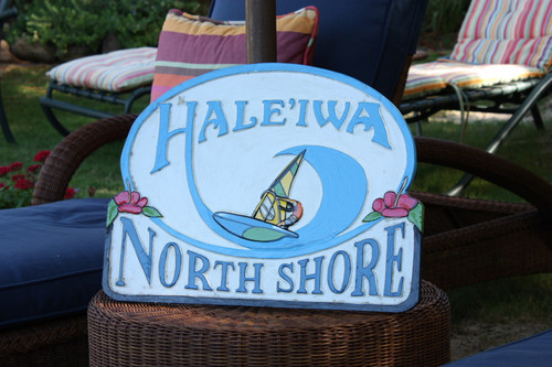 "Wooden Windsurf Sign ""Haleiwa, Northshore"" 24 inch - Surf Decor"