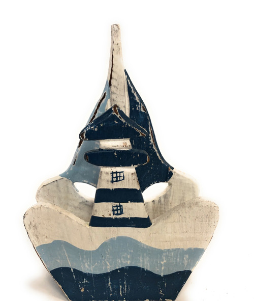 "Napkins/Letter Holder 8"" Lighthouse - Blue Nautical decor 
