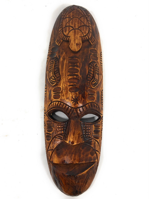 "Fijian Tiki Mask 20"" w/ Turtle & Dancing Knife 