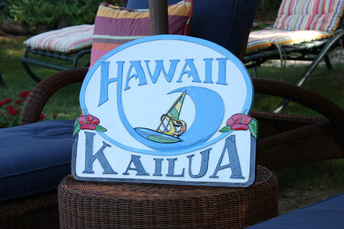 """Wooden Windsurf Sign """"Kailua, Hawaii"""" 24 inch - Surf Decor"""