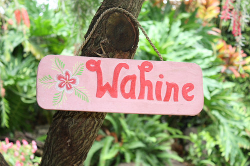 """Wahine"" Local Girl Wooden Surf Sign 14"" - Pink"