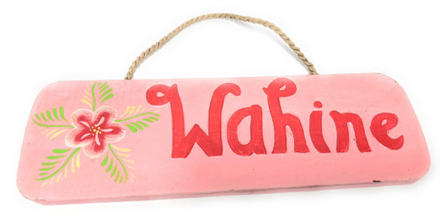 "Wahine Sign 14"" Decorative Sign - Pink 