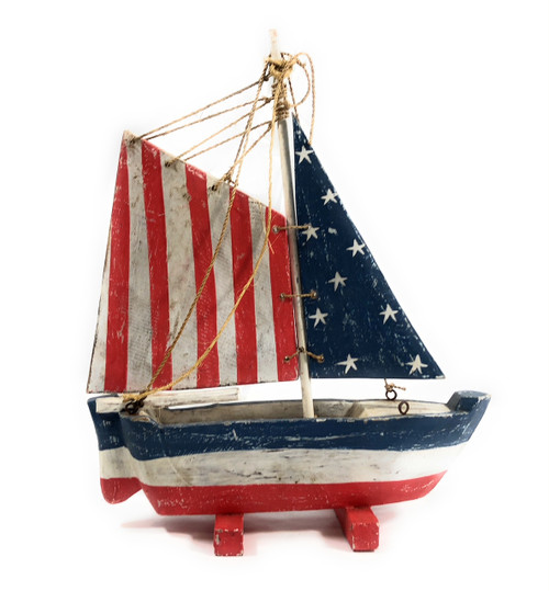 "Americana Decorative Sail Boat 16"" - Patriotic Theme 