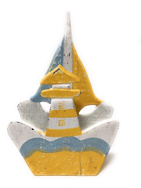 "Napkins/Letter Holder 8"" Lighthouse - Yellow Nautical decor   #ort1702920y"