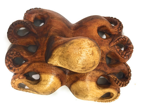 "Hawaiian Octopus ""HE'E"" - Hand Carved Monkeypod 12"" 