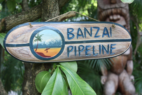 """Banzai Pipeline"" Wooden surf sign w/ custom painting 