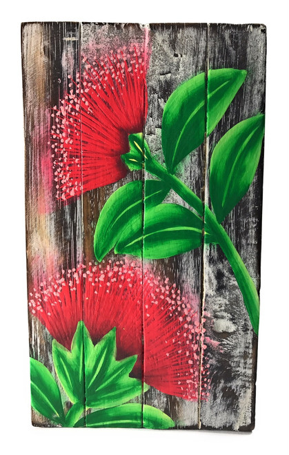 "Ohia Flower Painting on Wood Planks 8"" X 4.5"" Rustic Wall Decor 
