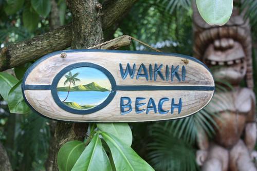 """WAIKIKI BEACH"" SURF SIGN 20"" - PAINTED SURF SCENE"