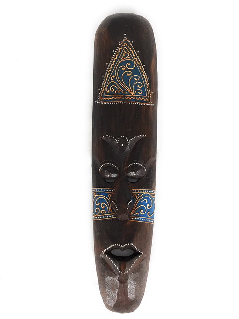 "Tribal Tiki Mask 20"" Blue - Tattoo Primitive Art 