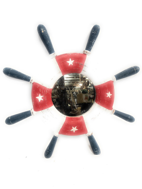 "Ship Wheel w/ Mirror Americana 20"" - USA Flag Decor 