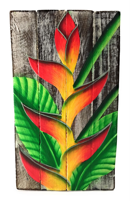 "Heliconia Flower Painting on Wood Planks 8"" X 4.5"" Rustic Wall Decor 