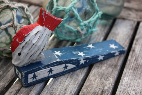 "Americana Door Stopper w/ Fish 4"" - USA Decor"