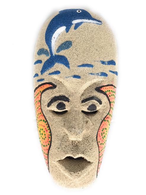 "Sand Tiki Mask 8"" w/ Dolphin - Decorative Primitive Art   #wib370720a"