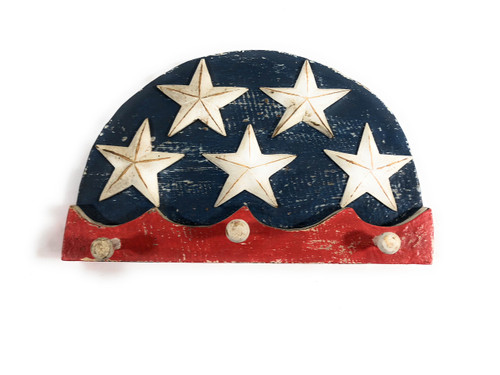 "Americana Hanger/Key Holder 12"" w/ 3 Pegs - USA Flag Theme | #ort17083b"