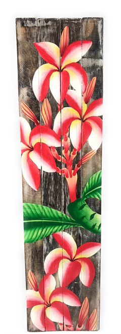 "Plumeria Flower Painting on Wood Planks 20"" X 5"" Rustic Wall Decor 