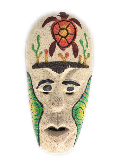 "Sand Tiki Mask 8"" w/ Turtle - Decorative Primitive Art   #wib370720b"