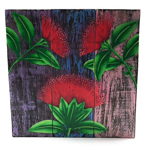 "Ohia Flower Painting on Wood Planks 12"" X 12"" Rustic Wall Decor 