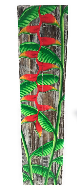 "Heliconia Flower Painting on Wood Planks 20"" X 5"" Rustic Wall Decor 