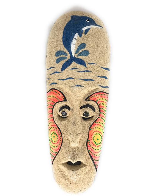 "Beach Sand Mask 12"" w/ Dolphin - Decorative Primitive Art | #wib370730a"