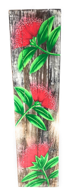 "Ohia Flower Painting on Wood Planks 20"" X 5"" Rustic Wall Decor 
