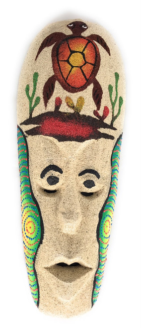 "Sand Tiki Mask 12"" w/ Turtle - Decorative Primitive Art 